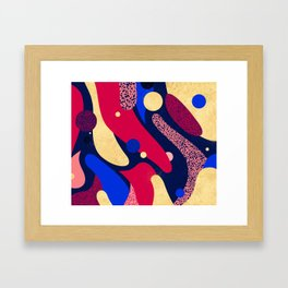 Psychedelic terrazzo galaxy blue night gold red Framed Art Print