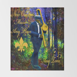 NEW ORLEANS JAZZ TROMBONE LET THE GOOD TIMES ROLL!! Throw Blanket
