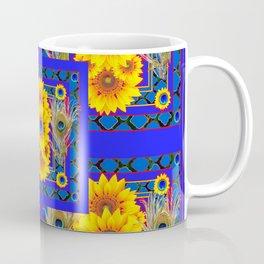 BLUE PEACOCK  SUNFLOWERS DECO JEWELED ABSTRACT Coffee Mug