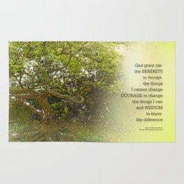 Serenity Prayer Tree Yellow Green Rug