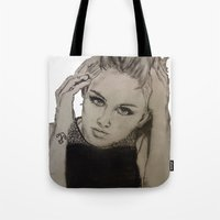 miley cyrus Tote Bags featuring Miley Cyrus by Brittany Ketcham