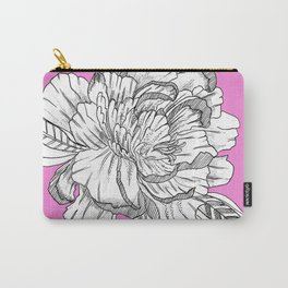 Black, White and Pink Sketch Peony Flower Carry-All Pouch