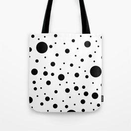 Mixed Polka Dots - Black on White Tote Bag