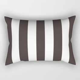 Black coffee - solid color - white vertical lines pattern Rectangular Pillow
