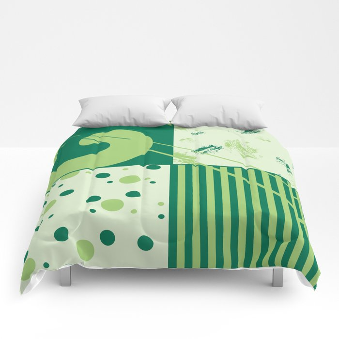 Patchwork pattern in green tones Comforters