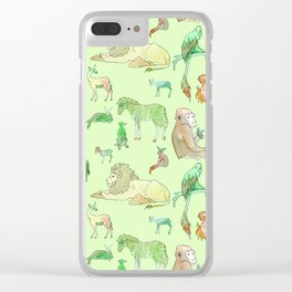 Watercolor Zoo Clear iPhone Case
