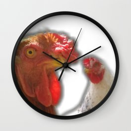 Rooseter and chiken~ happy couple Wall Clock