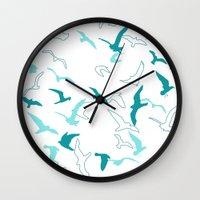 flight Wall Clocks featuring Flight  by Norman Duenas
