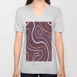 Circled  Waves  digital oil painting lines. Unisex V-Neck