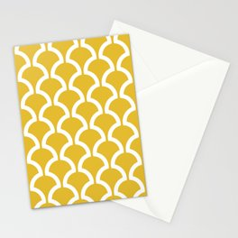 Classic Fan or Scallop Pattern 469 Mustard Yellow Stationery Cards