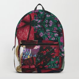 red lace - a modern, colorful collage Backpack