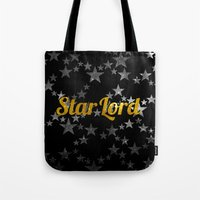 star lord Tote Bags featuring Golden Star Lord by foreverwars