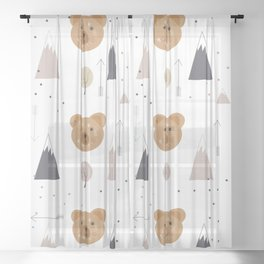Seamless kids pattern with lovely cute bears and forest Sheer Curtain