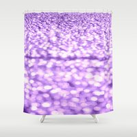 glitter Shower Curtains featuring Purple Glitter Sparkles by WhimsyRomance&Fun