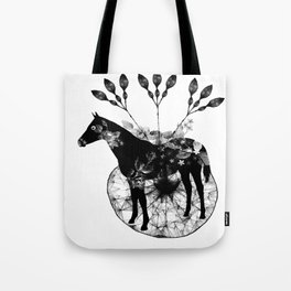 Black and white horse and the flowers Tote Bag