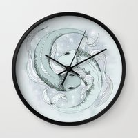 pisces Wall Clocks featuring Pisces by Vibeke Koehler