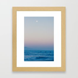 Boats, Ocean, Mountains and the Moon Framed Art Print