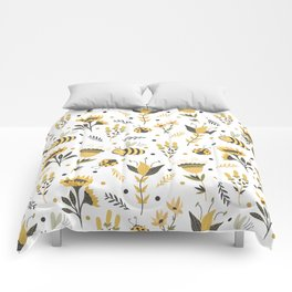 Bees and ladybugs. Gold and black Comforters