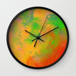 Taste The Rainbow - Multi coloured, abstract, textured painting Wall Clock