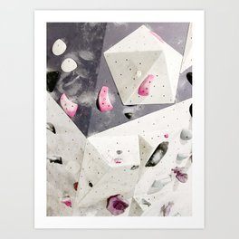 Geometric abstract free climbing gym wall boulders pink white Art Print