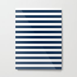 Narrow Horizontal Stripes - White and Oxford Blue Metal Print