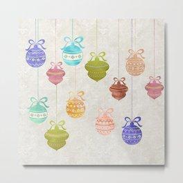 Colorful Watercolor Christmas Ornaments Metal Print
