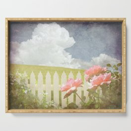 Spring Welcome Rose Serving Tray
