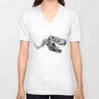 trex V-neck T-shirts featuring Jurassic Bloom - The Rex.  by Sinpiggyhead