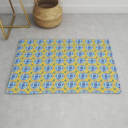 Retro Round Tiles Mexican Blue Daisy Gold Rug