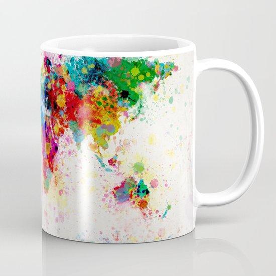 Map of the World Map Paint Splashes Mug