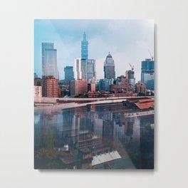 Taipei Glitch Metal Print
