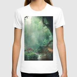 Gorgeous Gracious Deer Mother And Kid Grazing In Magical Forest Clearing Ultra HD T-shirt
