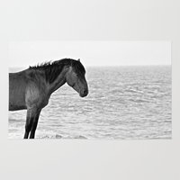pony Area & Throw Rugs featuring Assateague Pony by Biff Rendar