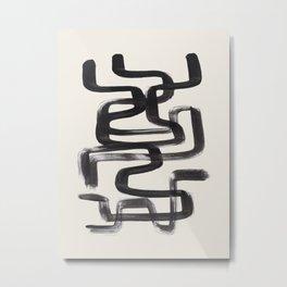 Mid Century Modern Minimalist Abstract Art Brush Strokes Black & White Ink Art Pipe Maze Metal Print