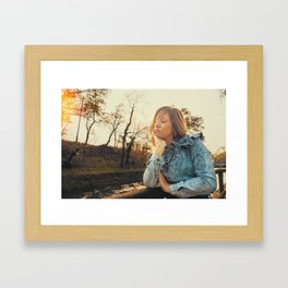 Lovely young woman in the Natural Park of Ticino Framed Art Print