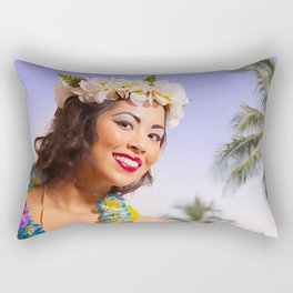 """Aloha"" - The Playful Pinup - Coconut Shell Bikini Pinup Girl by Maxwell H. Johnson Rectangular Pillow"