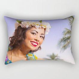"""""""Aloha"""" - The Playful Pinup - Coconut Shell Bikini Pinup Girl by Maxwell H. Johnson Rectangular Pillow"""