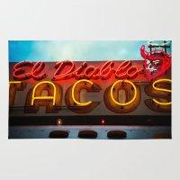diablo Area & Throw Rugs featuring El Diablo by Phil Provencio