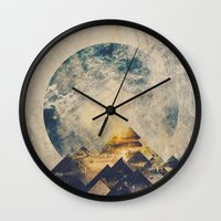 grunge Wall Clocks featuring One mountain at a time by HappyMelvin