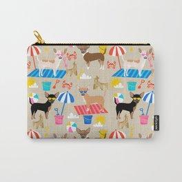 Miniature Doberman Pinscher dog beach day summer fun dog lover min pin Carry-All Pouch