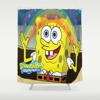spongebob Shower Curtains featuring spongebob squarepants,cartoon,patrick,Squidward,sandy,Mr. Krabs by rosita