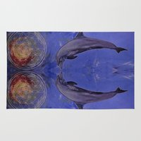 dolphins Area & Throw Rugs featuring dolphins by ARTito