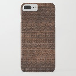 Aztec Tribal Andes Carved brown wood grain pattern iPhone Case