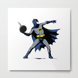 Bat Throwing Bomb Metal Print