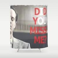 moriarty Shower Curtains featuring Did You Miss Me? / IOU / Moriarty / V by Earl of Grey