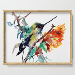 Hummingbird and Orange Flowers, tropical Olive green Serving Tray