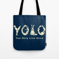 yolo Tote Bags featuring YOLO by Coffee Man