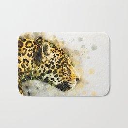 Jaguar Watercolor Splash Bath Mat