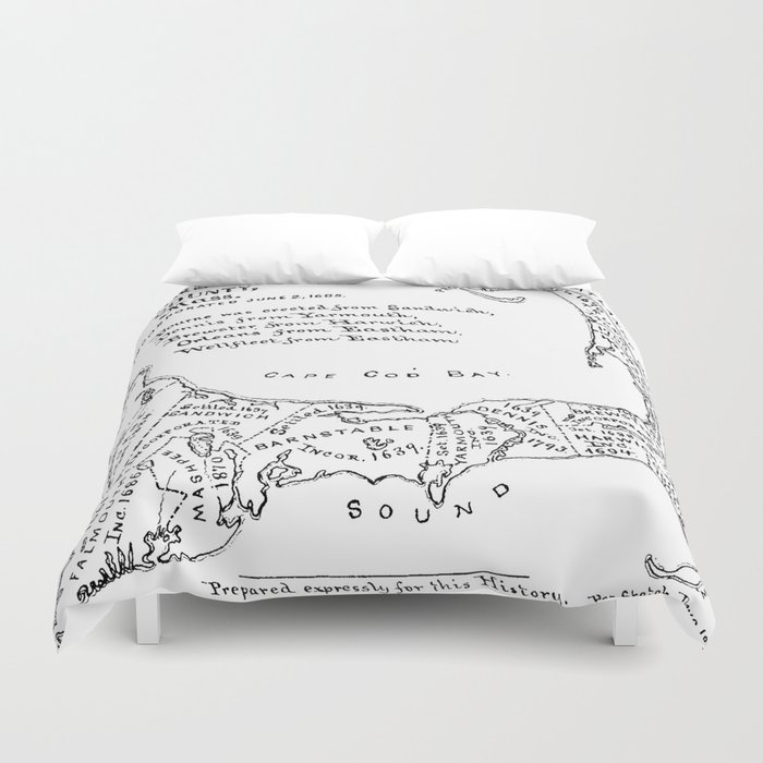 Vintage Map of Cape Cod (1890) Duvet Cover by bravuramedia | Society6