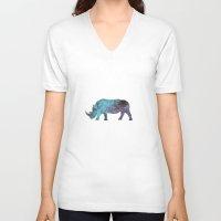 rhino V-neck T-shirts featuring Rhino by Dnzsea